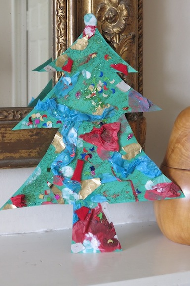 Collage christmas tree craft for preschoolers preschool for Christmas crafts for pre schoolers