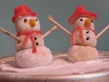 Edible Christmas Crafts - Marzipan Snowmen