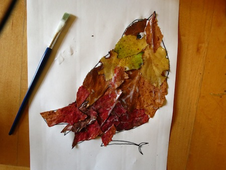 Take Your Glue And Brush Paste The Leaves Into Robin Overlapping Until Entire Outline Has Been Filled Use A Lot Of To Make Sure