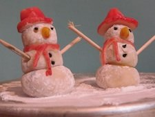 Edible Christmas Crafts - Marzipan Snowmen